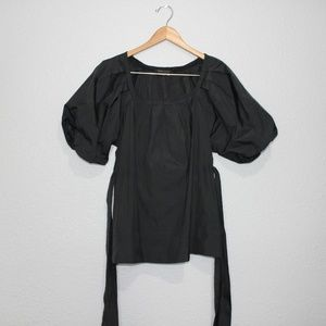 BCBGMaxAzria Black Puffy Sleeves Blouse sz XXS